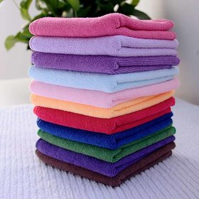 Pack Of 12 v150GSM Cotton Solid Face Towels by Aanand (Multicolor) (25x25Cm)