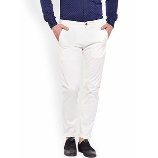 culture white Nerow Fit  Formal Trousers For Men