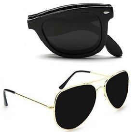 Combo Of Folding Aviator Wayfarer Sunglasses Uv Protection Full Rim Non-me