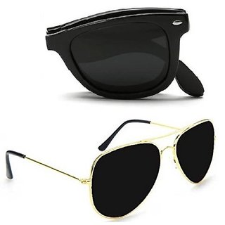 Combo Of Folding Aviator Wayfarer Sunglasses Uv Protection Full Rim Non-me