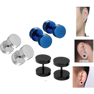 Earrings for Men at Best Prices in India  Men's Fashion Round Barbell Piercing Combo (3 Pairs) Black , Blue, Silver Stainless Steel Stud Earrings CodeOq-3218