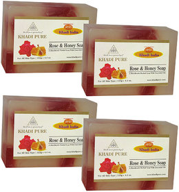 Khadi Pure Herbal Rose  Honey Soap - 125g (Set of 4)