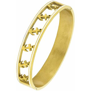 The Jewelbox Anchor 18K Gold 316L Surgical Stainless Steel Openable Bangle Cuff Kada Bracelet for Men