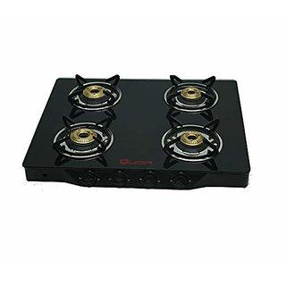 Quba POLO IIII BLACK MANUAL ARC GLASS 4 Burner Manual Gas Stove
