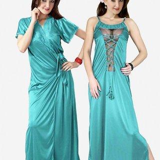 403df42e2edb Super Sexy 2p Night Wear Set Blue Nighty sheer on Chest   Over Coat New  Honeymoon Sleep Set Gurlz Night Slip Gown   Robe Set