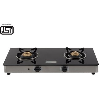 Brightflame ISI Marked 2 Burner Black Glass Stove Auto - Tulip Series