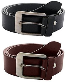 Black & Brown PU Pin-Hole Buckle Belts by K Decor - Set Of 2