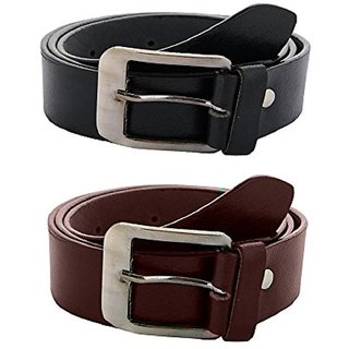 Black & Brown PU Pin-Hole Buckle Belts by K Decor - Set Of 2 (Synthetic leather/Rexine)