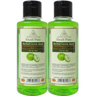 Khadi Pure Herbal Green Apple Shampoo + Conditioner - 210ml (Set of 2)