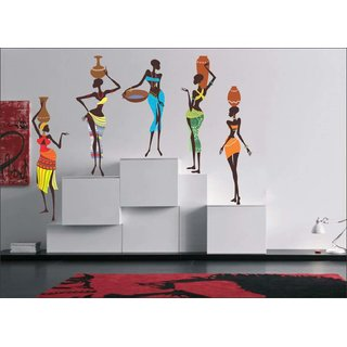 EJA Art  African Lady Mulitcolor Removable Decor Mural Wall Stickers Sticker