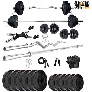Sporto Fitness 30 Kg Weight Plates, 5 and 3 ft Rod, 2 D.Rods Home Gym Equipments With Dumbbell Set