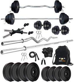 Sporto Fitness Rubberised 32 Kg Home Gym Set + Rope + Gym Bag + Dumbbells rods + 3 Ft Bar