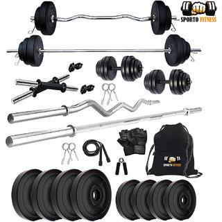 SPORTO 32 Kg Home Gym Set + Rope + Gym Bag + Dumbbells rods + 3 FT BAR