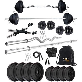 Sporto Fitness Rubberised 32 Kg Home Gym Set + Rope + Gym Bag + Dumbbells rods + 3 Ft Bar