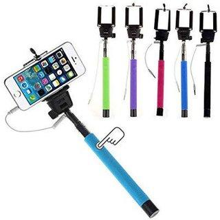 KSJ Selfie Stick With AUX Cable (Assorted Color)
