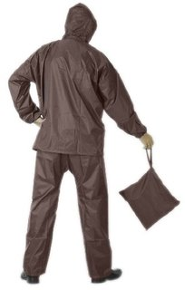 Unique Collections Brown Men's Raincoat With Lower And Cap (3 In 1)