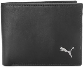Puma Black Pure Leather Bi-fold Wallet for Mens