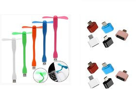 Combo of USB Fan and OTG Adopter (Assorted Colors)