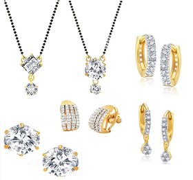 Ad Wedding Gift Mangalsutra Combo Of 4 Pairs Of Earrings And Elegant 2 Mangalsutra With Chain By Goldnera