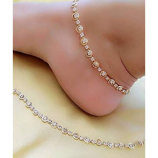Pair Of Sparkling Jewellery Gold Plated Gold Alloy Anklets For Women