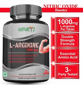 Naturyz L-Arginine-1000mg(Pre-workout tablets), Essential Amino Acid, 60 Tablets