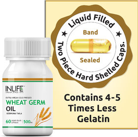 INLIFE Wheat Germ Oil 500 mg, 60 Capsules For Hair  Skin