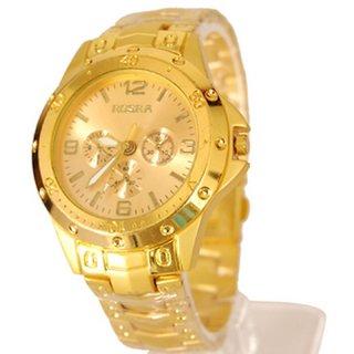 Rosra Casual Round Gold Metal Analog Quartz Men's Watch