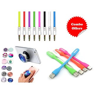 Combo of LED Light, Aux and Popup Socket (Assorted Colors)