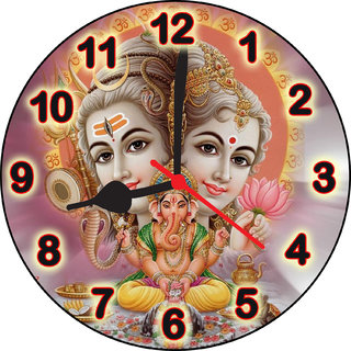 3d shiv parivar face4 wall clock