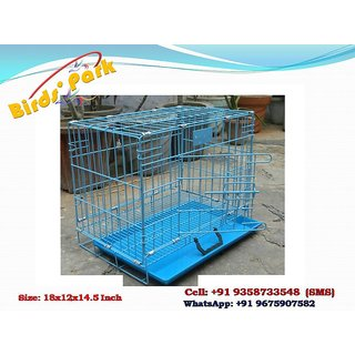 Dog Cages Blue Good for Pups Cat Rabbit or Guinea Pigs 18 Inch Length
