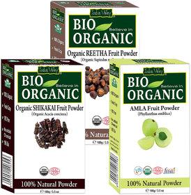 Indus Valley Bio Organic Amla Powder, Reetha Powder And Shikakai Powder- Combo Pack of 3 Each Pack 100 G
