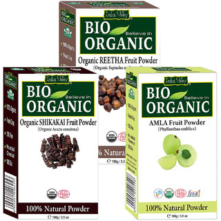 Indus Valley BIO Organic Herbal Amla, Reetha  Shikakai Powder- Combo Pack of 3-in-1