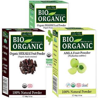 Indus Valley BIO Organic Herbal Amla, Shikakai  Brahmi Powder- Combo Pack of 3-in-1
