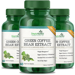 Simply Herbal Green Coffee Bean Extract Pure (50 GCA) 800 Mg 60 Capsules 100 Natural Weight Loss Supplement (3)