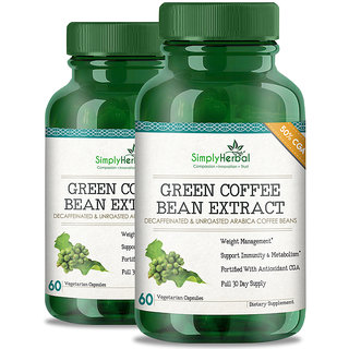Simply Herbal Green Coffee Bean Extract Pure (50 GCA) 800 Mg 60 Capsules 100 Natural Weight Loss Supplement (2)