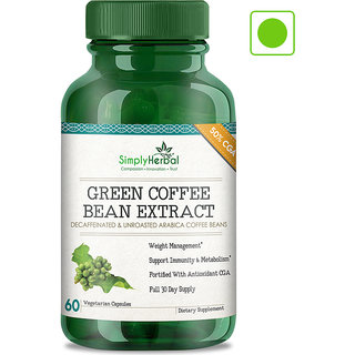 Simply Herbal Green Coffee Bean Extract Pure (50 GCA) 800 Mg 60 Capsules 100 Natural Weight Loss Supplement