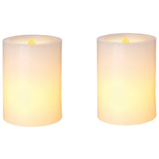Callmate Plastic LED Candles With Fragrance Of White Tea - 14 x 8 x 17 cm (Set of 2)