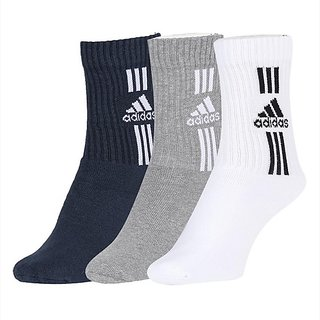 Adidas Men Grey/White/Black Cotton, Nylon and Polyester Flat Full Length Socks Pack of 3 - Free Size