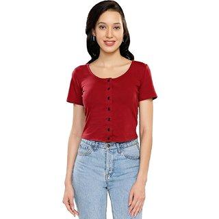 Smarty Pants Maroon Solid U-Neck Crop Tops For Women