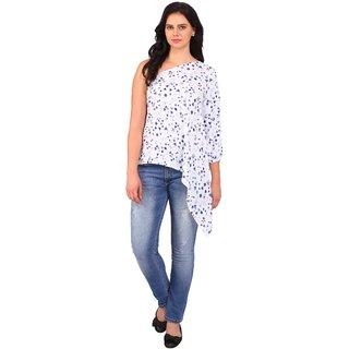 8d551e3f7d0bbc Smarty Pants Rayon One Shoulder Top for Women - White   Blue Floral Print