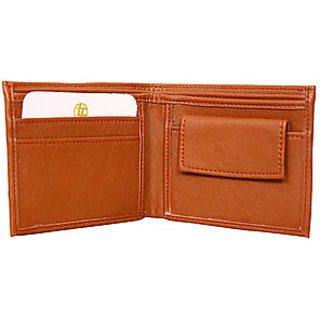Leather wallet brown for mens (Synthetic leather/Rexine)