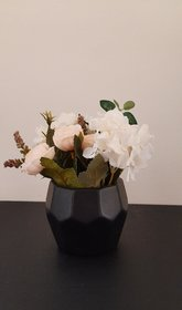 Style Ur Home - Artificial flowers in Hexagonal Ceramic Black Pot