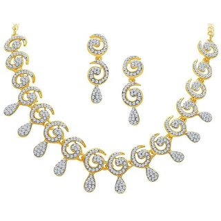 Women Alloy Gold Plated Necklace Set By Mfj Fashion Jewellery