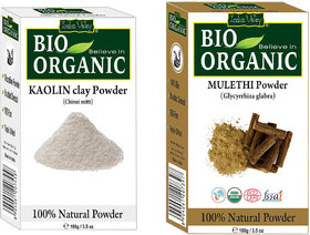 Indus Valley Bio Organic Kaolin Clay(China Clay) + Mulethi Powder(Licorice Root) Combo-Set of 2
