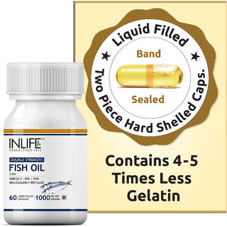 INLIFE Fish Oil (Double Strength) Omega 3(1000 mg) 60-Liquid Filled Capsules