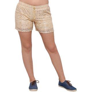 Smarty Pants women beige lace shorts.