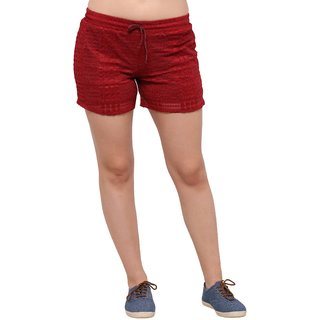 Smarty Pants women maroon lace shorts.