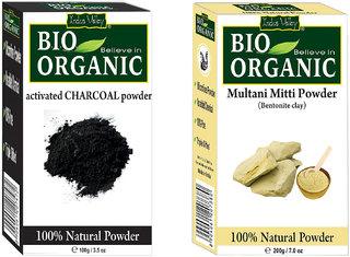 Indus valley Bio Organic Activated Charcoal + Multani Mitti Powder Combo-Set of 2