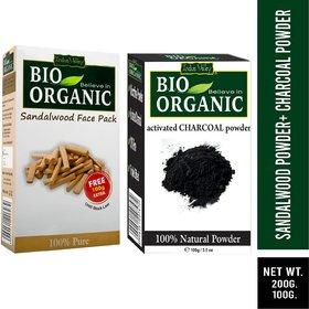 Indus valley Bio Organic Activated Charcoal + Sandalwood Powder Combo-Set of 2