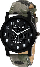 Gen-Z Round Dial Green Grey And Multi Fabric Leather Strap Analog Quartz Watch For Men